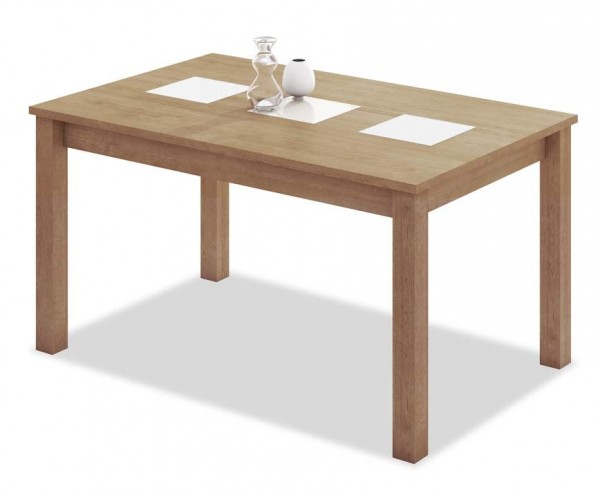 6190 Mesa comedor rectangular extensible. Acabado color roble cambrian cristales blancos.