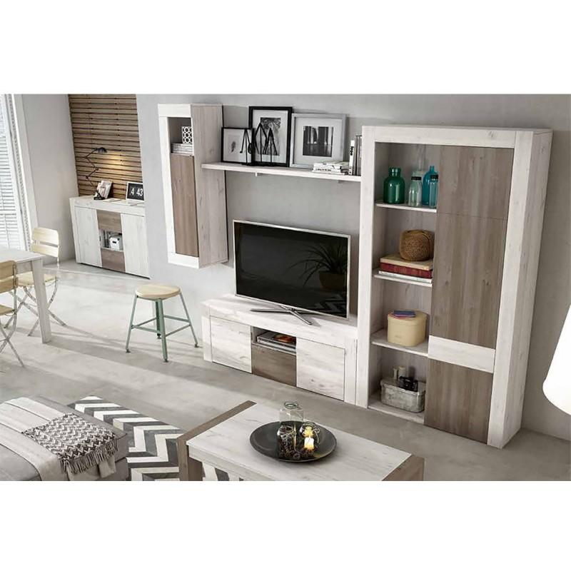 Apilable salón diseño nórdico 270 cm. Acabado combinado colores Ártico y Perkin.