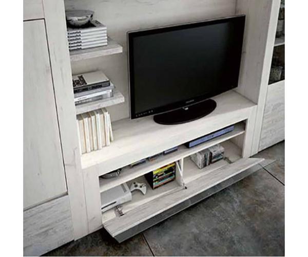 SFGZMNT15 Apilable salón diseño moderno 320 cm. Detalle trampón módulo TV.