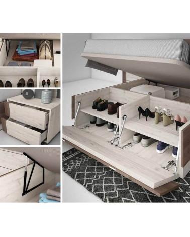 Dormitorio matrimonio diseño moderno 245 cm. Acabado Azabache y Blanco. Canapé, sinfonier y espejo opcionales.