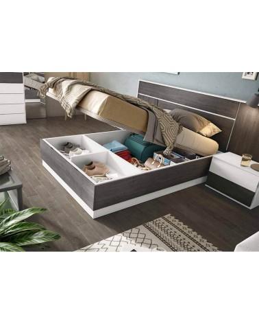 SFGZMSON04A Dormitorio matrimonio compuesto por cabecero 245 cm y 2 mesitas de 45 cm. Acabado Perkín y Ártico. Canapé opcional.