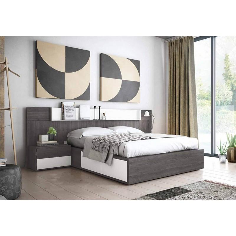 SFGZMSON06 Dormitorio matrimonio diseño moderno 245 cm. Bancada cajonera y cómoda opcionales. Acabado Azabache y Blanco.
