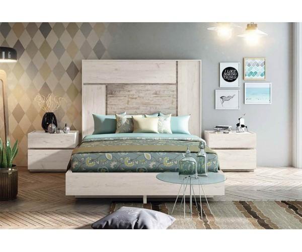 """COMBINACIÓN """"A"""". Dormitorio matrimonio compuesto por cabecero y dos mesitas 2 cajones. Acabado Ártico y Vintage."""
