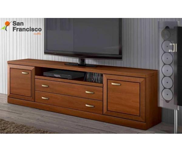 Mesa TV económica de diseño actual 200cm. Acabado color Nogal.