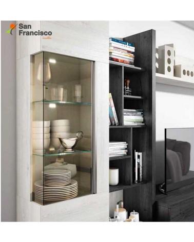 Apilable salón diseño moderno económico 275cm. Acabado Nordic y Azabache. Detalle vitrina. Leds opcionales.