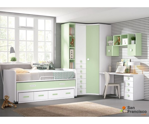 dormitorio juvenil a medida económico de 357cm acabado Blanco, Verde Claro y Nevada.