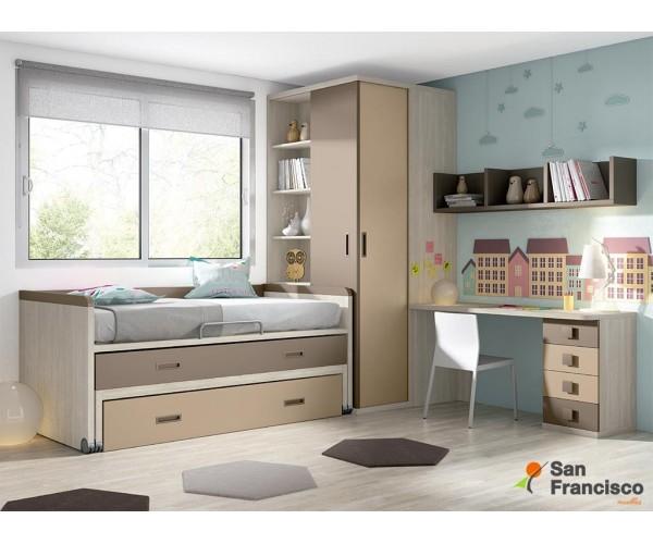 Compacta juvenil económica con 3 camas de 202cm. Alta calidad. Máxima capacidad. Acabado Fresno, Marrón y Moka.