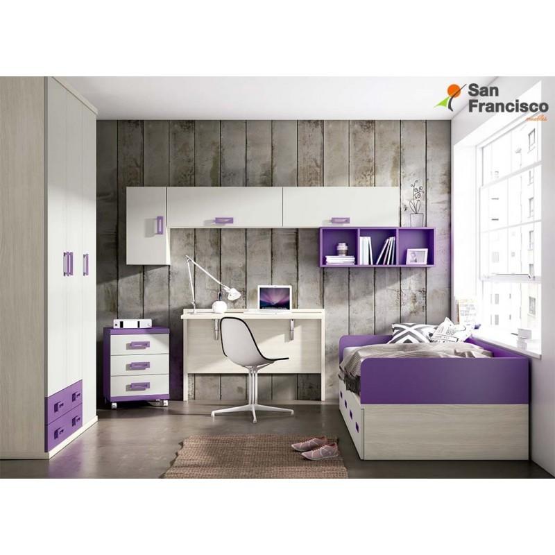 dormitorio juvenil a medida económico acabado Fénix, Gris Claro y Malva.