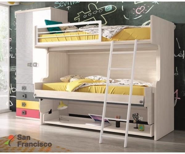 Litera block juvenil económica de 214cm con mesa articulada y cama abatible horizontal. Máxima calidad.