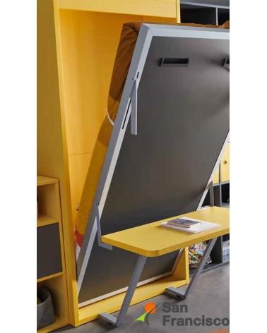 Cama abatible vertical económica con mesa de estudio. Librerías opcionales.
