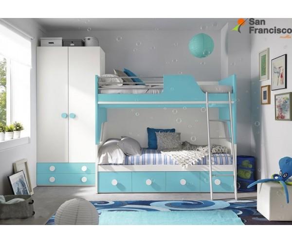 Litera juvenil 2 camas y 4 contenedores 201cm