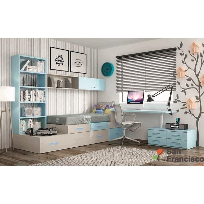 Dormitorio juvenil a medida económico. Últimos diseños, texturas y colores.