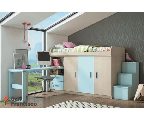 Dormitorio juvenil a medida económico. Alta calidad. Máxima capacidad. Novedosos diseños.
