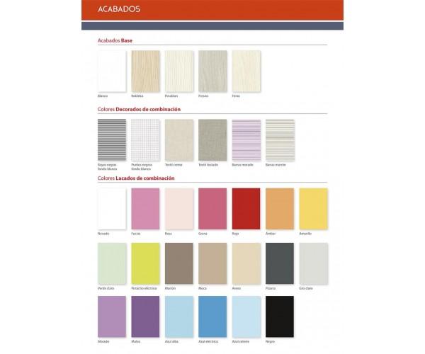 Carta de colores base y colores de combinación.