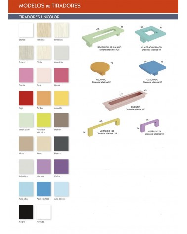 Carta de tipos de tiradores y colores disponibles.