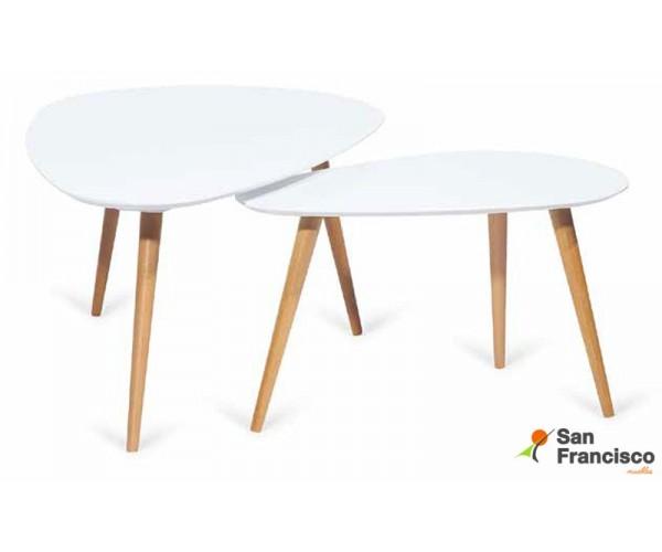 Pack 2 mesas nido estilo nórdico económicas acabado Blanco y patas haya color natural. Mueble en KIT.