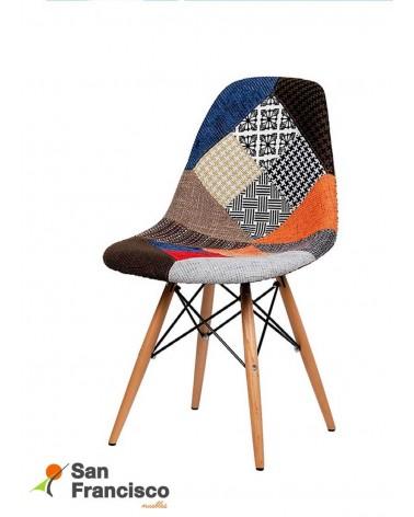 Silla diseño moderno barata tapizado patchwork y patas madera de haya.