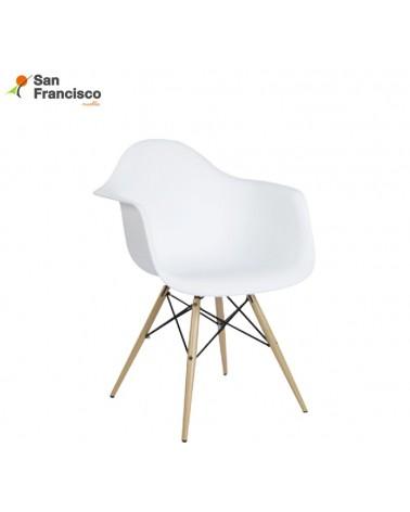 Sillón estilo nórdico diseño moderno económico. Acabado ABS color Blanco. Patas de haya. Artículo en KIT.