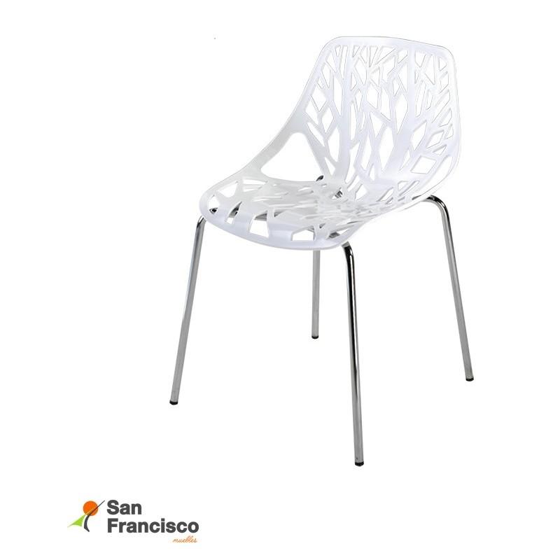 Original silla de diseño moderno económica. Polipropileno blanco acabado brillo. Patas cromadas. Apilable.