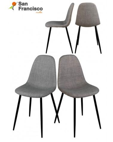 Silla moderna económica asiento tapizado y patas metálicas.