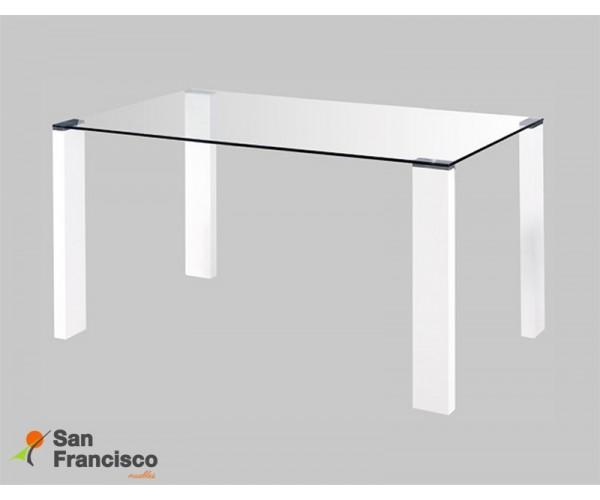 Mesa de diseño moderno económica con tapa de cristal templado y patas rectangulares acabado lacado blanco.