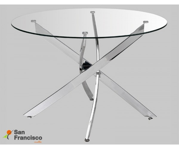Mesa redonda diseño moderno económica tapa cristal 120cm patas metálicas cromadas