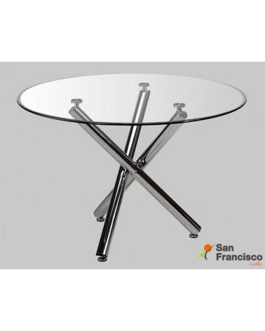 Mesa comedor diseño moderno económica tapa cristal templado 120cm patas cruzadas cromadas.