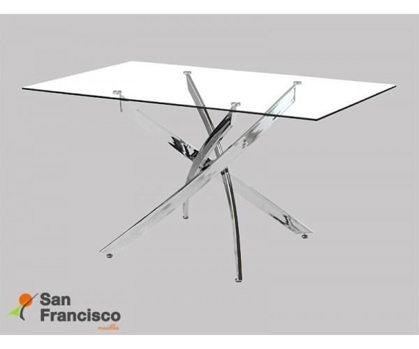 Mesa diseño moderno económica con tapa  rectangular de cristal templado y patas curvadas acabado cromado.