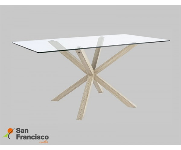 Mesa comedor diseño moderno tapa cristal 160X90cm económica