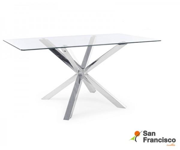 Mesa comedor diseño moderno tapa cristal 160X90cm económica patas metálicas acabado cromado.