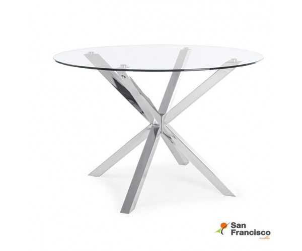 Mesa comedor moderna económica tapa cristal y patas cromadas 114cm