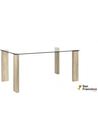 Mesa de diseño moderno económica con tapa de cristal templado y patas rectangulares acabado efecto roble.