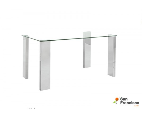 Mesa de diseño moderno económica con tapa de cristal templado y patas rectangulares en DM efecto cromado.