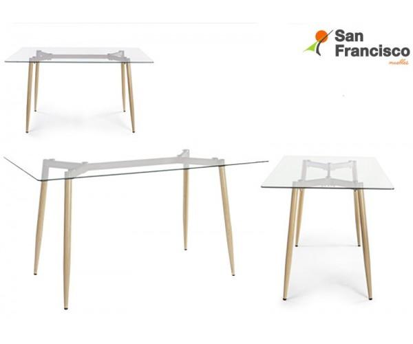 Mesa barata estilo nórdico tapa rectangular en vidrio templado 120X70cm patas de acero efecto madera.