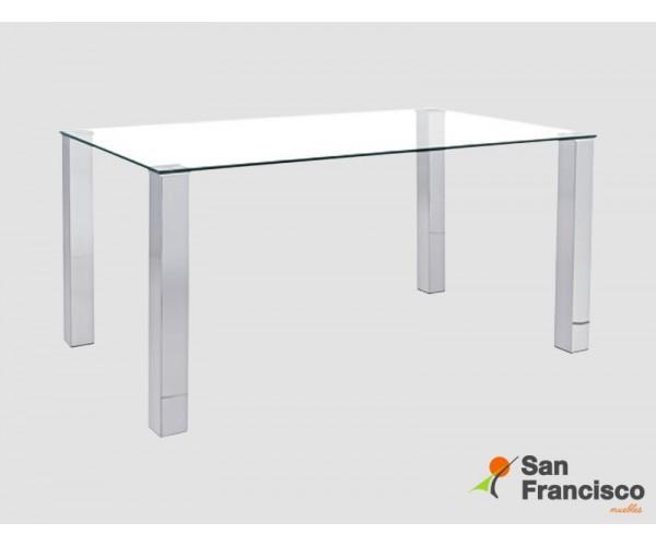 Mesa de diseño moderno económica con tapa de cristal templado y patas cuadradas en DM acabado acero.