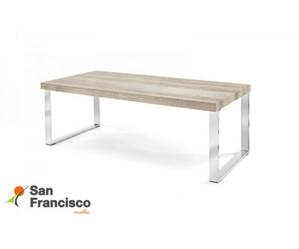 Mesa de centro económica de diseño moderno 110X60cm. Tapa DM efecto roble legno y patas en acero cromado.