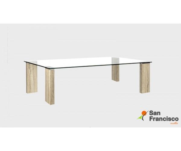 Mesa de centro económica de diseño moderno 120X60cm. Tapa cristal templado y patas en DM efecto madera.
