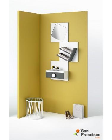 Recibidor puzzle compuesto por cajón, espejo oblicuo y estantería. Acabado Base Blanco roto y antracita.