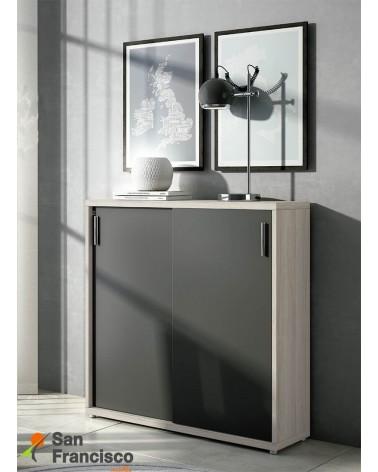Zapatero puertas correderas. 4 estantes interiores móviles. Acabado Roble Stella y Antracita.