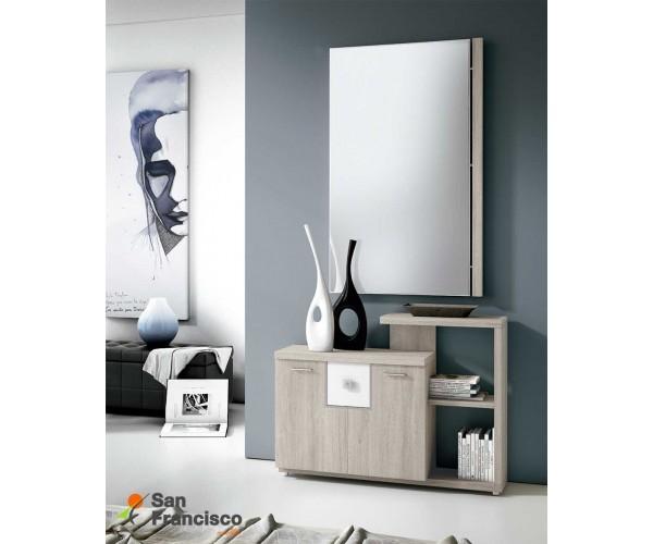 Recibidor diseño moderno buen precio 2 puertas 1 cajón y estantería. Espejo incluido