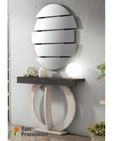 Original mueble recibidor alto diseño económico máxima calidad. Acabado Roble Chicago y pié Roble Stella.