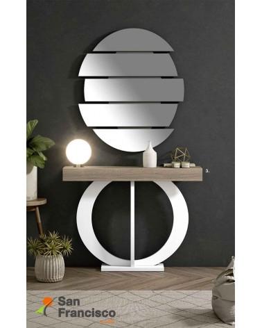 Original mueble recibidor alto diseño económico máxima calidad. Acabado Roble Tostado y pié Blanco Roto.