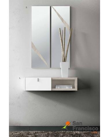 Elegante recibidor colgado 1 cajón diseño moderno económico. Acabado color base Roble Stella, frente lacado Blanco mate.