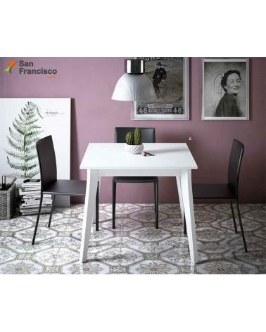 Mesa comedor cuadrada 90cm tapa fija diseño nórdico buen precio. Acabado Tapa Blanco Roto. Patas blancas.