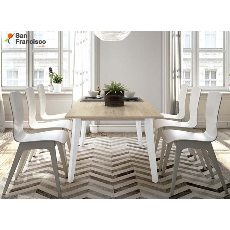 Mesa comedor económica rectangular extensible 140cm diseño nordico. Acabado Roble Aurora y patas blancas.