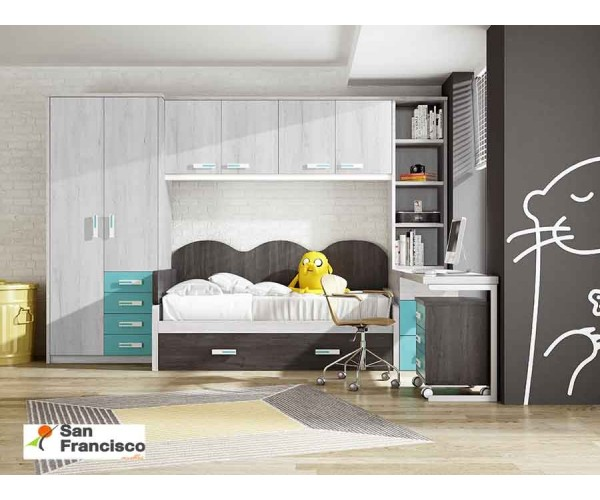 Dormitorio Juvenil con cama Nido 90x190cm
