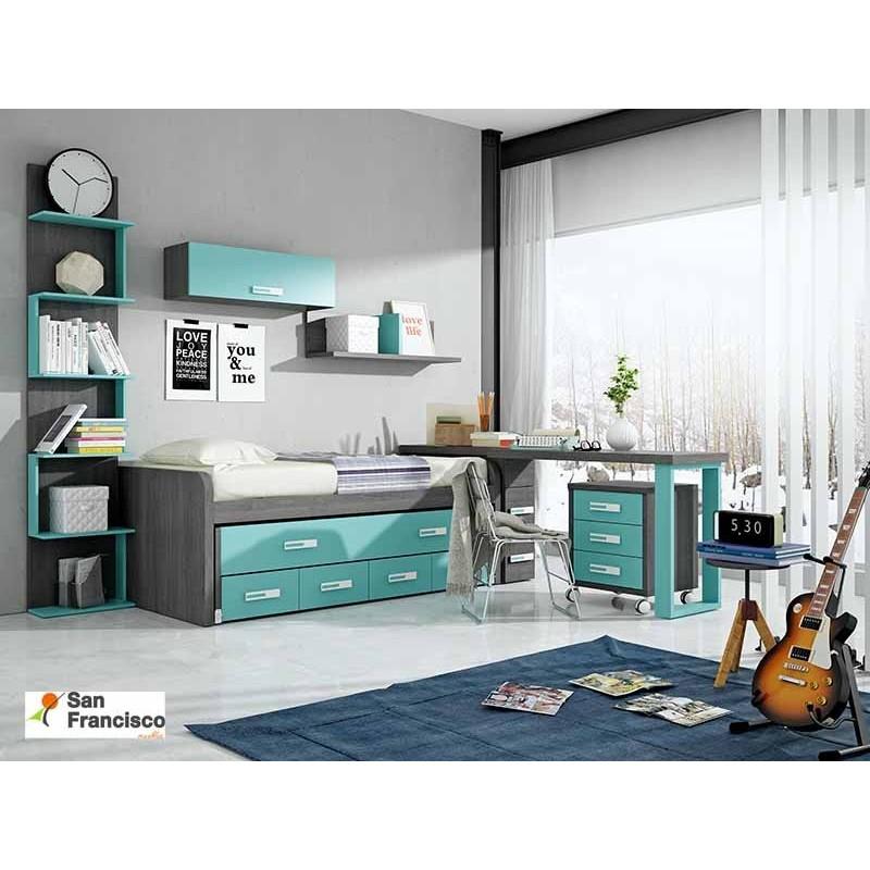 Dormitorio Juvenil con compacto con 2 camas
