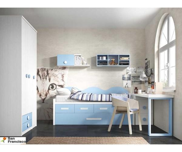 Dormitorio Juvenil con mesa de estudio