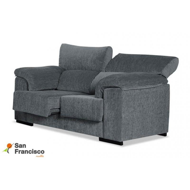 Sofá 2 plazas económico 170cm reclinable, extensible, desenfundable, tapizado microfibra Velvet 9 Gris.