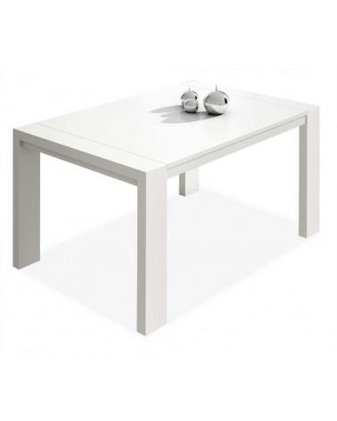 7061 Mesa comedor rectangular extensible. Acabado color blanco.